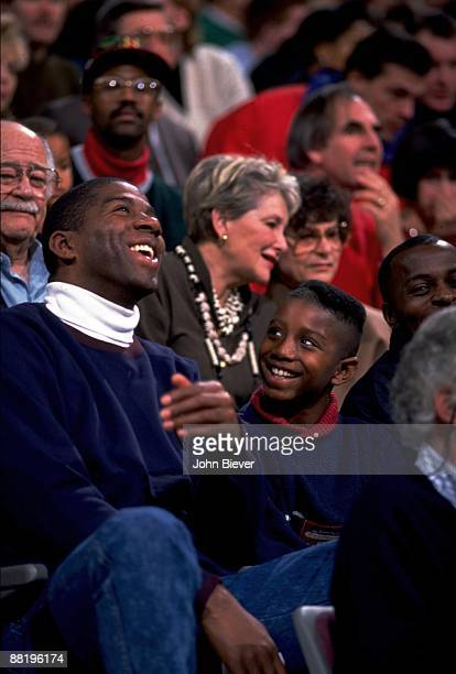 View of former Los Angeles Lakers player Magic Johnson with son Andre Johnson during Detroit Piston vs Atlanta Hawks game Auburn Hills MI CREDIT John...