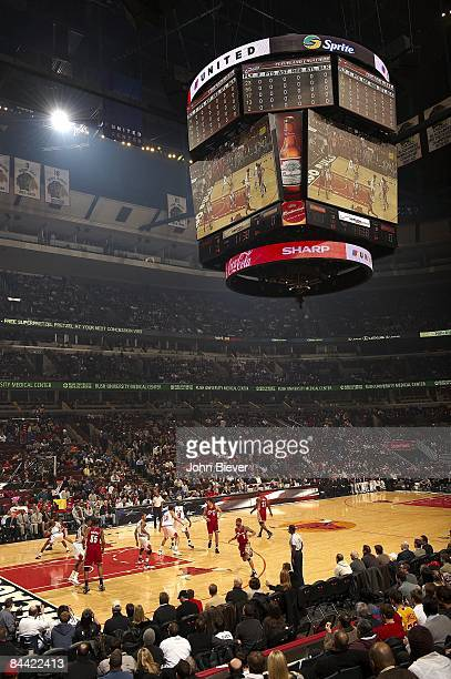 View of Jumbotron video screen and scoreboard at United Center during Chicago Bulls vs Cleveland Cavaliers Chicago IL 1/15/2009 CREDIT John Biever