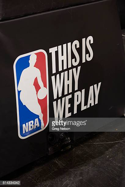 View of NBA logo that reads THIS IS WHY WE PLAY above cameras of padding on courtside before San Antonio Spurs vs Detroit Pistons at ATT Center San...
