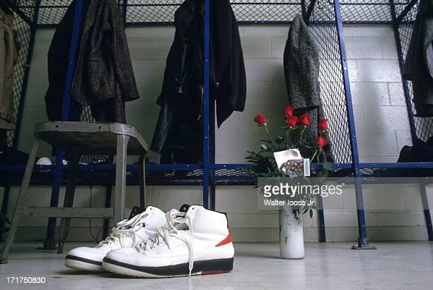 60d5d56dc767 View of Nike Air Jordan II sneakers of Chicago Bulls Michael Jordan with  roses on floor