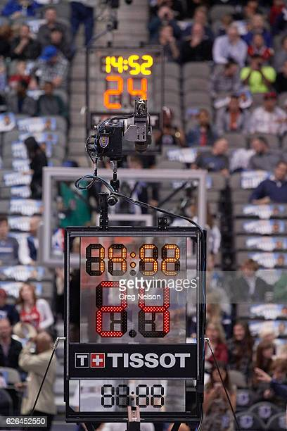 View of shot clock with Tissot company logo during Dallas Mavericks vs Los Angeles Clippers game at American Airlines Center Equipment Dallas TX...