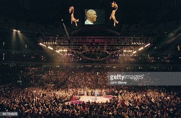 View of United Center during retirement ceremony for former Chicago Bulls player Michael Jordan Chicago IL 11/1/1994 CREDIT John Biever