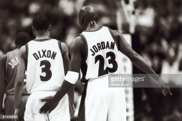 Basketball Washington Wizards Michael Jordan and Juan Dixon during game Washington DC 2003
