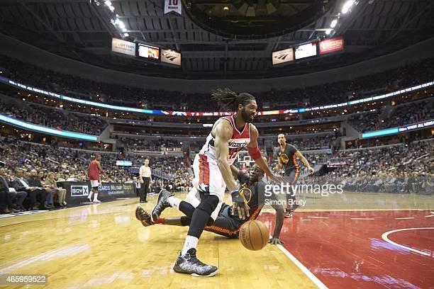 Washington Wizards Nene in action vs Golden State Warriors Draymond Green at Verizon Center Washington DC CREDIT Simon Bruty