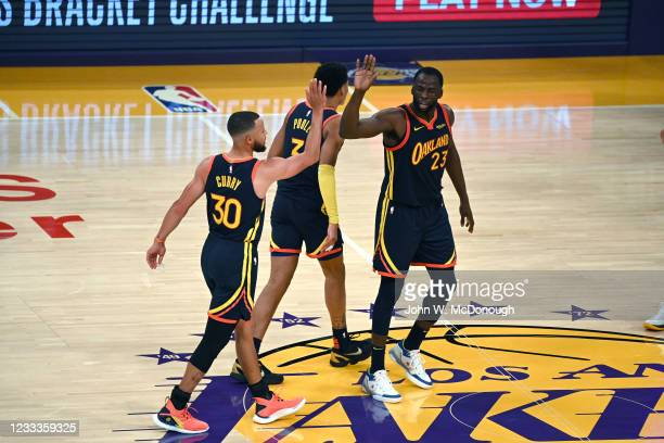 West PlayIn: Golden State Warriors Draymond Green victorious giving high five to Stephen Curry vs Los Angeles Lakers at Staples Center. Game 1. Los...