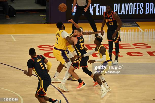 West PlayIn: Golden State Warriors Stephen Curry in action, passing vs Los Angeles Lakers at Staples Center. Game 1. Los Angeles, CA 5/19/2021CREDIT:...