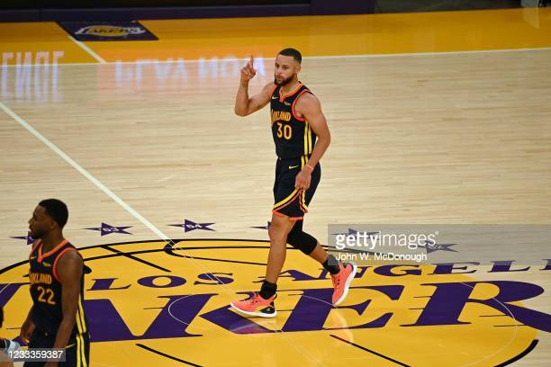 West PlayIn: Golden State Warriors Stephen Curry victorious during game vs Los Angeles Lakers at Staples Center. Game 1. Los Angeles, CA 5/19/2021...