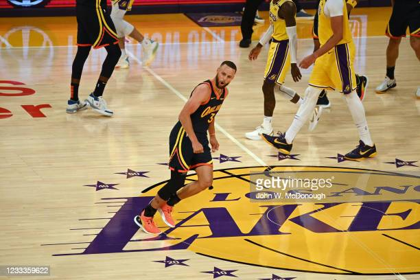 West PlayIn: Golden State Warriors Stephon Curry victorious during game vs Los Angeles Lakers at Staples Center. Game 1. Los Angeles, CA 5/19/2021...