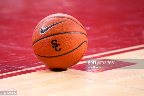 Basketball with the USC logo sits on the court during a college basketball game between the Arizona Wildcats and the USC Trojans on February 27, 2020...