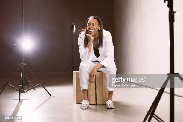 WNBA Draft Portrait of New York Liberty No 2 overall pick Asia Durr posing during photo shoot after selection process at Nike New York Headquarters...