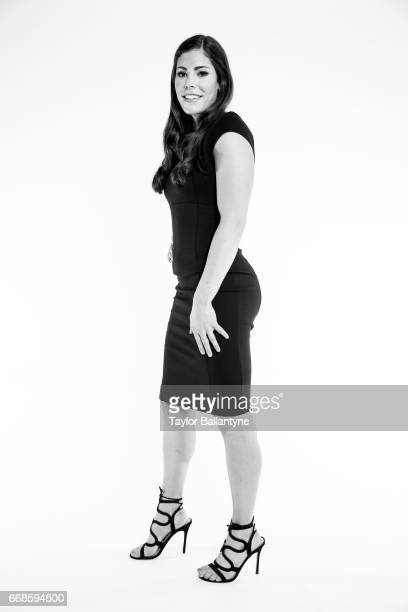 WNBA Draft Portrait of San Antonio Stars No 1 overall pick Kelsey Plum posing during photo shoot after selection process at Samsung 837 Behind the...