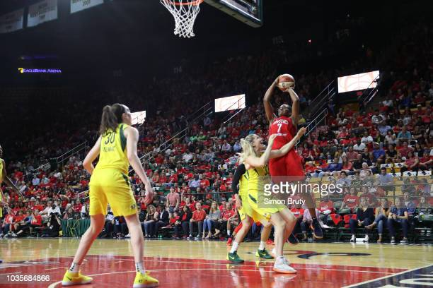 WNBA Finals Washington Mystics Ariel Atkins in action vs Seattle Storm Sami Whitcomb during Game 3 at Eagle Bank Arena Fairfax VA CREDIT Simon Bruty