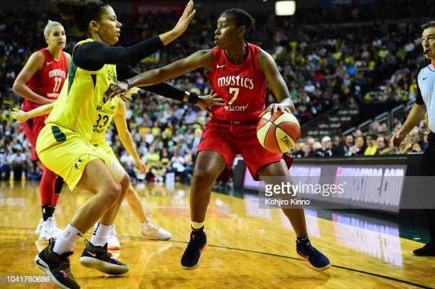 WNBA Finals Washington Mystics Ariel Atkins in action vs Seattle Storm Alysha Clark at Key Arena Game 1 Seattle WA CREDIT Kohjiro Kinno