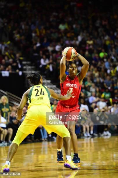 WNBA Finals Washington Mystics Ariel Atkins in action vs Seattle Storm at Key Arena Game 1 Seattle WA CREDIT Kohjiro Kinno