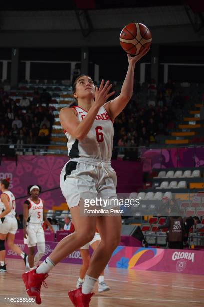 Basketball women's Aislinn Konig from Canada in action during the match between Canada and Brazil at the Lima 2019 Pan American Games