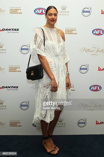 Basketballer Liz Cambage arrives ahead of the Children's Cancer Foundation's annual fundraiser the Million Dollar Lunch at Crown Palladium on August...