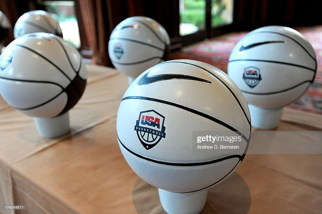 Basketballs are set out for members of the USA Basketball Men's National Team to sign during Training Camp at the Wynn Hotel and Casino on July 21, 2013, in Las Vegas, Nevada.