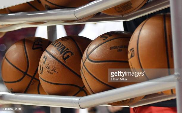 Basketballs are shown in a ball rack before a game between the Washington Wizards and the New Orleans Pelicans during the 2019 NBA Summer League at...