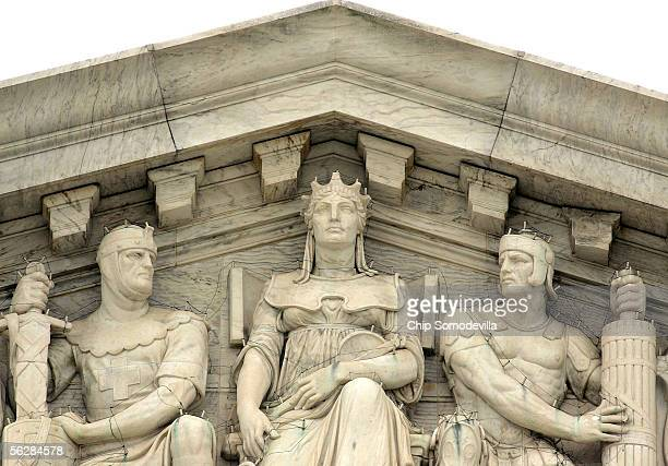 A basketballsized piece of the United States Supreme Court's dentil molding just above and right of the figure on the right broke off and fell onto...