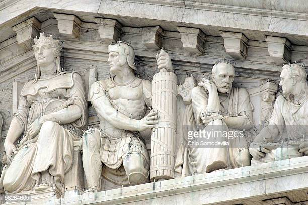 A basketballsized piece of the United States Supreme Court's dentil molding just above and right of the figure second from left broke off and fell...