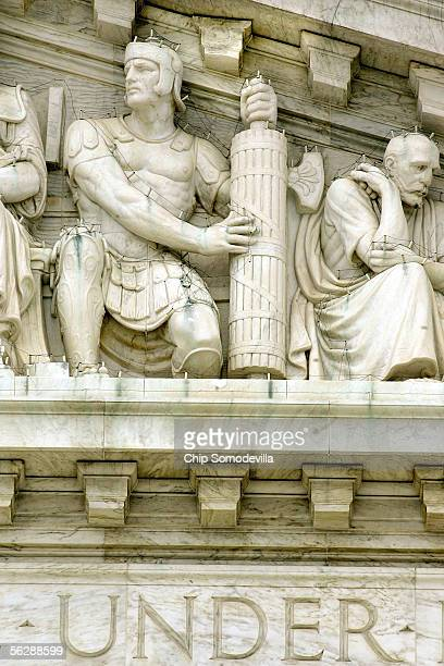 A basketballsized piece of the United States Supreme Court's dentil molding just above and right of the figure on the left broke off and fell onto...