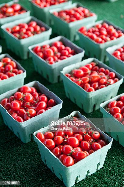 Baskets of cherry tomatoes