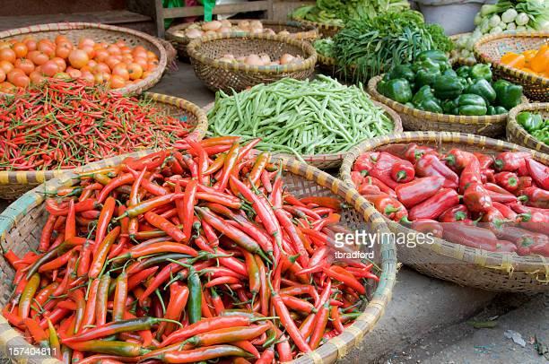 Baskets Of Fresh Vegetables At A Market In Hanoi, Vietnam