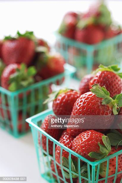 baskets of strawberries - anthony-masterson stock pictures, royalty-free photos & images