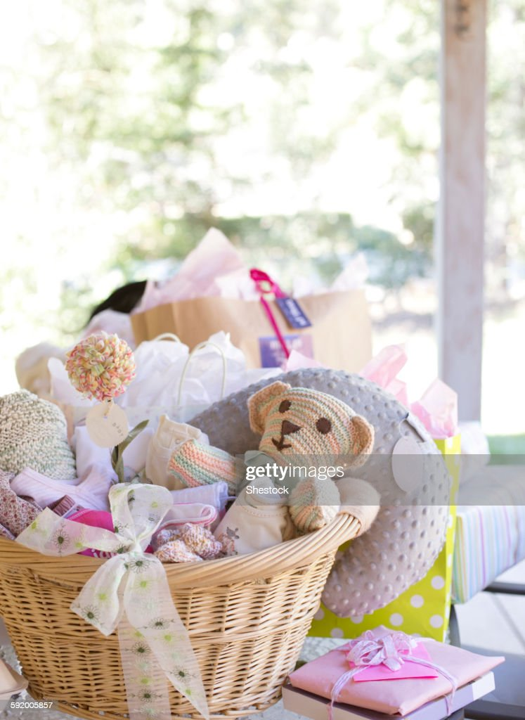 Baskets of toys for baby shower : Stock Photo