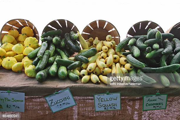Baskets of vegetables at a market stall