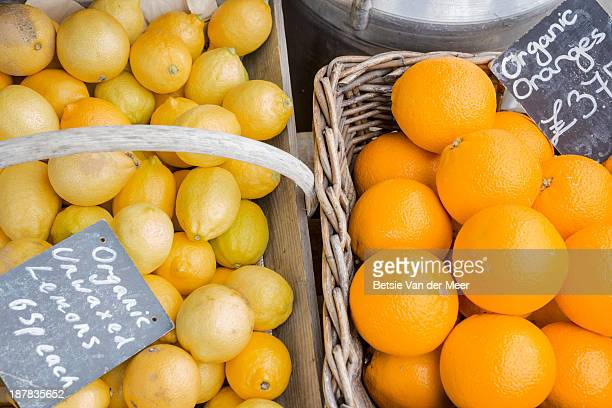 Baskets with organic oranges and lemons