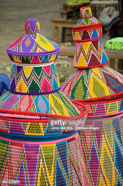 Basketware for sale at Axum market, Ethiopia