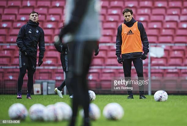 Baskim Kadrii of FC Copenhagen and Uros Matic of FC Copenhagen wait for instructions during the FC Copenhagen training session at Telia Parken...