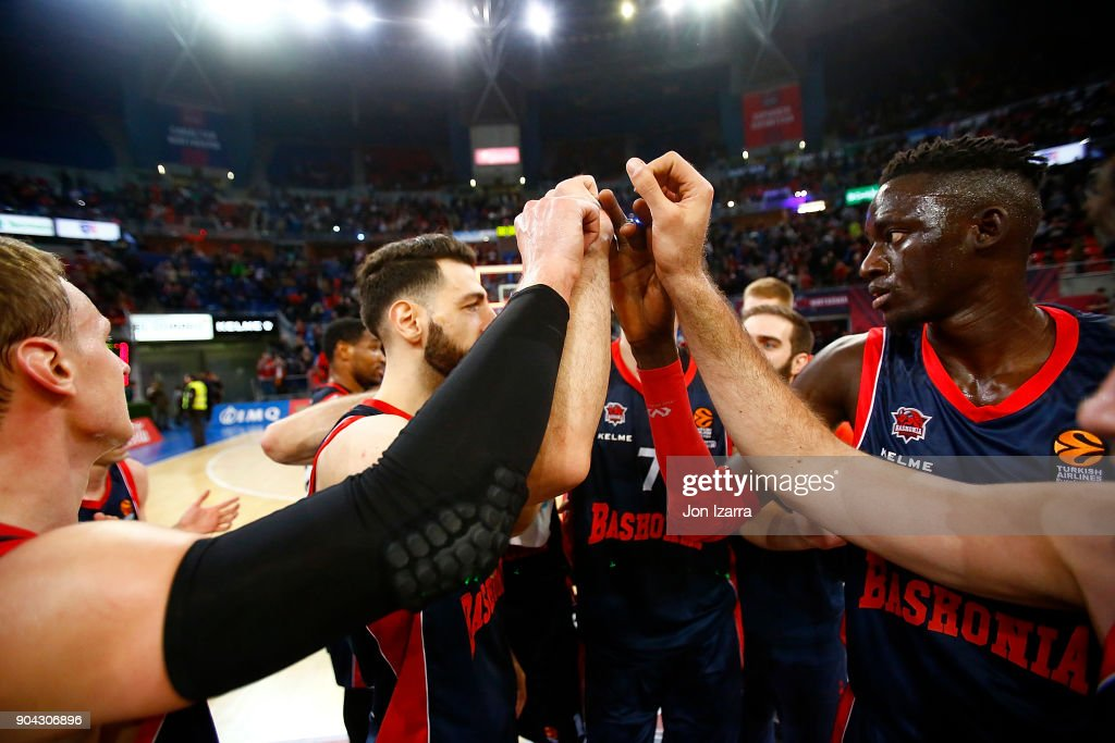 Baskoia Vitoria Gasteiz CElebrates in action during the 2017/2018 Turkish Airlines EuroLeague Regular Season Round 17 game between Baskonia Vitoria Gasteiz and Olympiacos Piraeus at Fernando Buesa Arena on January 12, 2018 in Vitoria-Gasteiz, Spain.