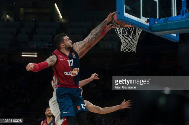 Baskonia's French center Vincent Poirier drives to the basket during the Turkish Airlines EuroLeague match between Kirolbet Baskonia Vitoria Gasteiz...