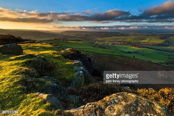 baslow edge with a view across the peak district. uk. europe. - east stock pictures, royalty-free photos & images