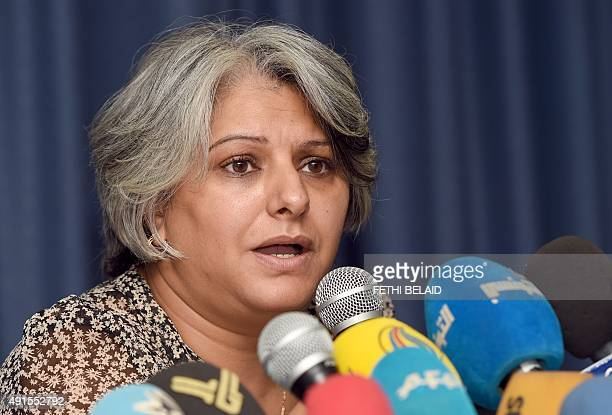 Basma Khalfaoui the widow of murdered Tunisian opposition figure Chokri Belaid holds a press conference in Tunis on October 6 2015 Tunisia opened a...