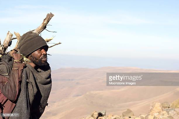 basotho man in sani pass, lesotho - lesotho stock photos and pictures