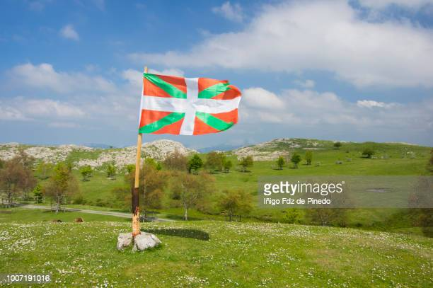 Basque Country flag, Gorbeia Natural Park, Orozko, Biscay, Basque Country, Spain.