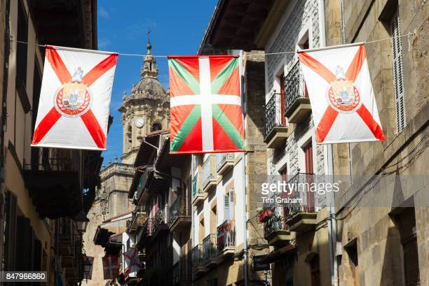 Basque Flag and local flags of old town Hondarribia in Basque Country Spain
