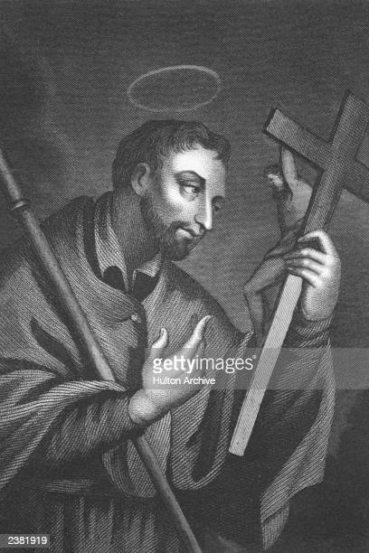 Basque Jesuit missionary Saint Francis Xavier worships the Holy Cross, circa 1540.