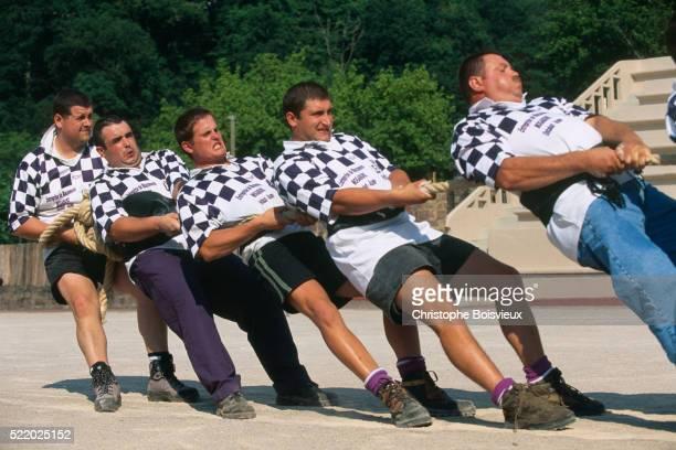 Basque Men Taking Part in Tug of War