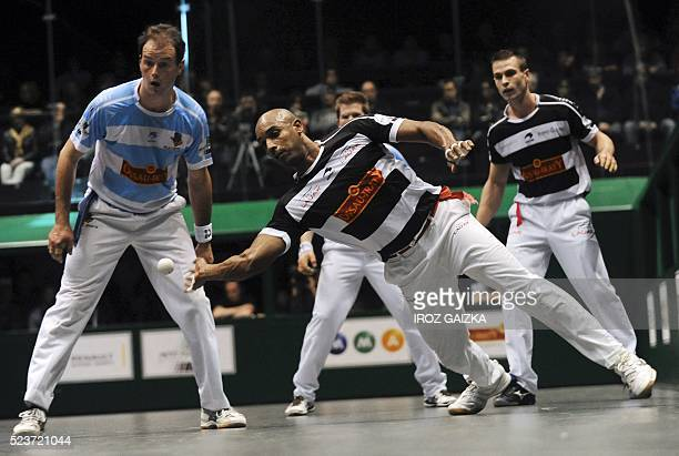 Basque pelota champions Bixintxo Bilbao and Agusti Waltary compete against Philippe Bielle and Baptiste Ducassou during the final match of the Hand...