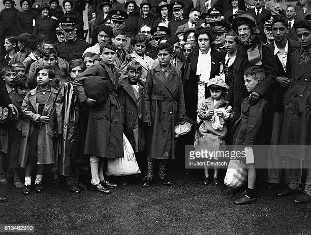Basque refugees who have fled from Spain because of the Civil War arrive at a Salvation Army centre in England