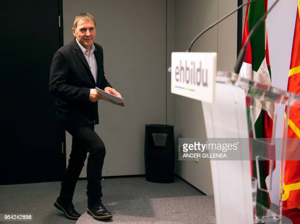 Basque separatist leader Arnaldo Otegi arrives to give a press conference in San Sebastian on May 3 2018 Basque separatist leader Arnaldo Otegi...