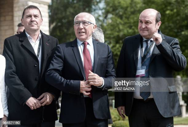 Basque's political party Sortu spokesperson Arnaldo Otegi Bayonne's mayor JeanRene Etchegaray and Spain's Basque region president Andoni Ortuzar...