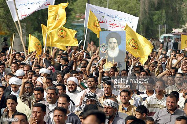 Iraqis loyal to Shiite Grand Ayatollah Ali al-Sistani demonstrate in the southern city of Basra, 14 May 2006 to protest against the regional...