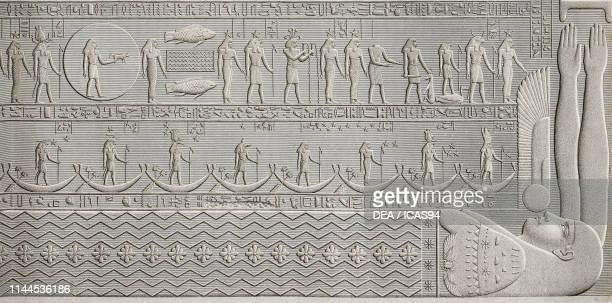 Bas-relief decoration depicting zodiac signs, ceiling of Hathor Temple portico, Dendera Temple complex, Egypt, engraving after a drawing by Jollois...