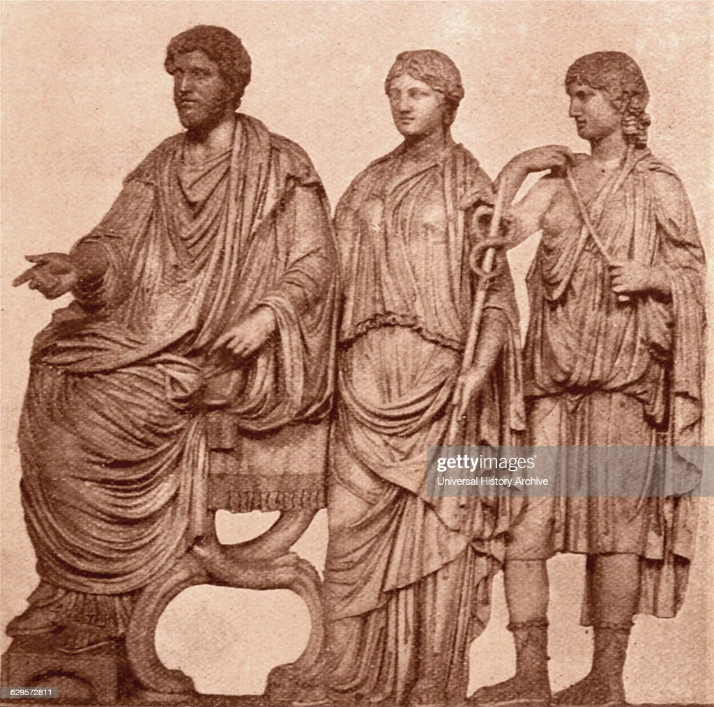 bas-relief depicting Marcus Aurelius and Faustina with the Goddess Roma : News Photo