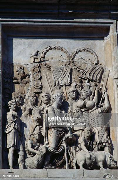 Basrelief depicting suovetaurilia an ancient Roman sacrifice in which a pig a sheep and a bull were sacrificed with Marcus Aurelius surrounded by...
